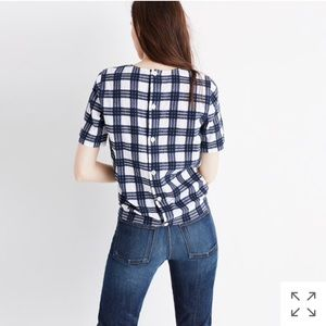 Madewell Plaid Button Back Front Tie Top